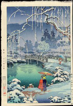 Hanga   Tsuchiya Koitsu, (1870-1949)  Spring snow, Kyoto Maruyama