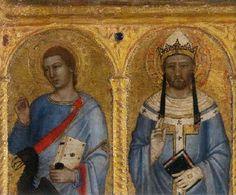 Andrea di Buonaiuto da Firenze - Madonna con Bambino e dieci Santi, dettaglio santi Giovanni Evangelista e Gregorio - c. 1365-1370 - National Gallery, London