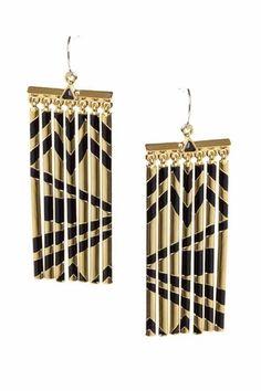 House of Harlow 1960 Metal Fringe Earrings in Yellow Gold