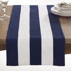 Saro Saint John Collection Striped Design Cotton Table Runner (Navy), Blue