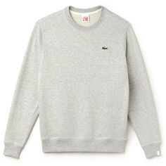 Grey Unisex Lacoste Live Fleece Sweatshirt (£80) ❤ liked on Polyvore featuring tops, hoodies, sweatshirts, grey sweatshirt, gray sweatshirt, grey top, gray top and unisex tops