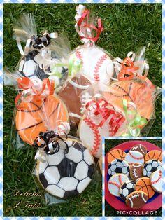Sports decorations cookies...... Galletas de Pelotas