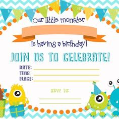 Free Templates And Invitations For A Cute Little Monster Birthday Party Easy Instructions Ideas