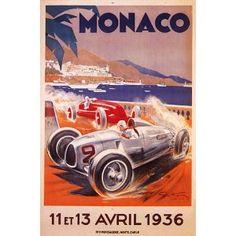 Av38 Vintage 1948 Grand Prix de Mónaco Clásico Motor Racing Poster Print A1 A2 A3