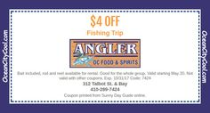 #Coupon - Angler Fishing Trip $4 OFF Coupon, Talbot St on the Bay, Ocean City MD...  #oceancitycool