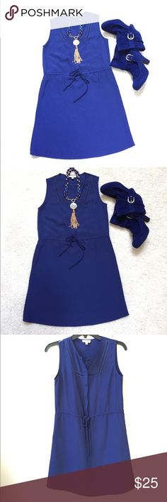 Maison Jules summer Dress NWOT Adorable navy blue sleeveless dress. Hidden buttons down the front. Drawstring waist. NWOT Maison Jules Dresses
