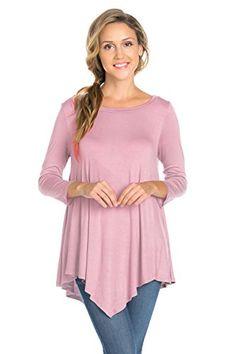 Women's Tunics - Frumos Womens Tunic 34 Sleeve Handkerchief Hem Tunic Top ** Want to know more, click on the image.