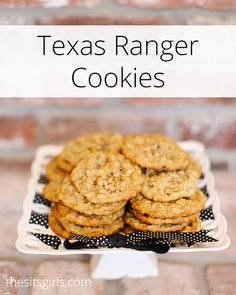 Texas Ranger Cookies The best cookie recipe! Texas Ranger Cookies have a fun secret ingredient that makes them extra special and much better than regular chocolate chip cookies. Cookie Desserts, Just Desserts, Dessert Recipes, Cookie Bars, Dessert Ideas, Delicious Desserts, Best Cookie Recipes, Sweet Recipes, Best Ranger Cookie Recipe