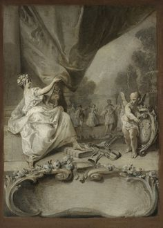 """Nicolas Lancret (Paris 1690 – 1743), Allégorie de la musique : projet de frontispice pour le """"Second livre de pièces de clavecin """" de Jean-François Dandrieu (Music allegory: frontispiece project for the """"Second livre de pièces de clavecin """"by Jean-François Dandrieu)"""