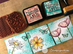 """I've cut up my stamped blog banner, as I did with my previous banner too, to turn it into 3 mini cards. Size is 4"""" x 4"""". Mijn gestem..."""