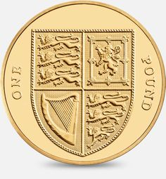 2008 - Present definitive 'Shield of the Royal Arms' £1 (One Pound) Coin representing the United Kingdom #CoinHunt