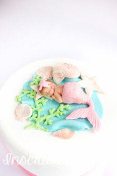 mermaid baby shower cake topper edible mermaid by InscribingLives