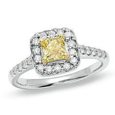 1 CTW Fancy Vivid Yellow Diamond 14K White Gold Princess Engagement Ring