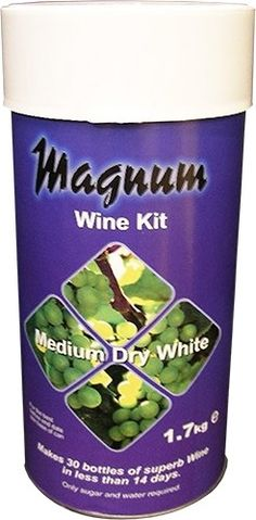 Magnum medium dry white wine kit.  Makes 30 Bottles of wine in less than 14 days. Requires the additon of brewing sugar (Glucose powder).