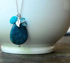 Teal Gemstone Necklace,Simple Necklace,Charm Necklace,Pendant Necklace