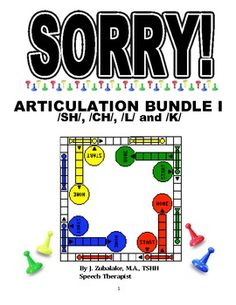 SORRY! ARTICULATION Game Cards BUNDLE I for /SH/, /CH/, /L