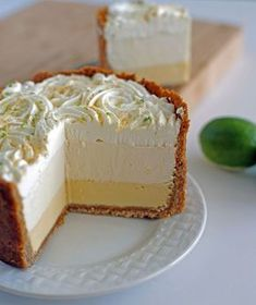 The Ultimate Key Lime Pie! Three Layers of Key lime goodness surrounded by a cinnamon brown sugar crust. Key Lime Whipped Cream, Sour Cream, Cream Pie, Just Desserts, Dessert Recipes, Pie Recipes, Key Lime Desserts, Key Lime Layered Dessert, Spanish Desserts