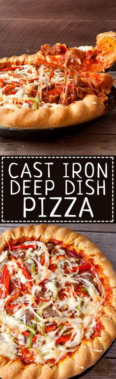 Skillet Deep Dish Pizza: This pizza is loaded with toppings and cheese and compiled in the traditional deep dish order (cheese on the bottom)! Cooking it in a carbon steel skillet gives it a perfect, crispy crust. Included is my favorite homemade deep dis Cast Iron Skillet Cooking, Iron Skillet Recipes, Cast Iron Recipes, Skillet Meals, Cast Iron Pizza Recipe, Deep Dish Pizza Crust Recipe, Pizza Recipes, Cooking Recipes, Cooking Dishes