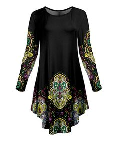 Lily Black & Green Arabesque Round-Hem Long-Sleeve Tunic - Women & Plus | Best Price and Reviews | Zulily Long Sleeve Tunic, Arabesque, Lily, Tunic Tops, Comfy, High Point, Casual, Green, Layouts