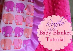 DIY Boutique Ruffle Baby Blanket Tutorial to make a beautiful blanket just like you see in the stores! Over the years I have made tons of minky blankets and when I first started sewing with minky it made me want to scream. But I have some easy tips to make sewing with minky a breeze! What you'll need: 1 yard cotton or flannel fabric 1 yard Minky fabric 1 package Wrights Blanket Binding 1 package Dritz Wash Away Wonder Tape (Optional) Tools Needed: Cutting Mat See through grid ru...