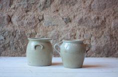 Pair of Small Antique French Stoneware Pots by FarmGateVintage on Etsy