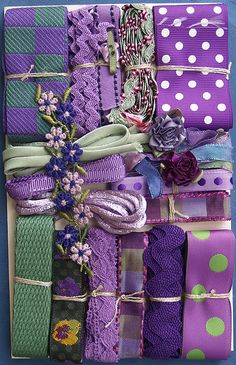 Product Details - Nifty Thrifty Dry Goods: Crazy Quilt Embellishment Assortment - Purples Assorted, Crazy Quilt Assortments, CQEA-asstd-purples