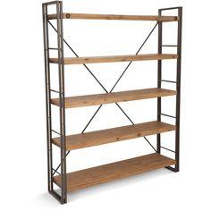 Aurelle Home Rustic and Industrial Open Natural Bookshelf
