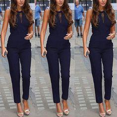 Jumpsuit longue combinaison pantalon sans manche taille haute creux dentelle moulante femme sexy bleu