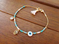 Blue and White Gold Hamsa Charm Bracelet  Evil eye Beaded