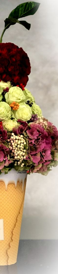 ❈Téa Tosh❈ Floral Ice Cream Cone Cherry On Top Bouquet #FloralBouquet #teatosh 1a Box Roses, Different Colors, Classy Lady, Seasons, Colours, Heavenly, Bouquets, Flowers, Red