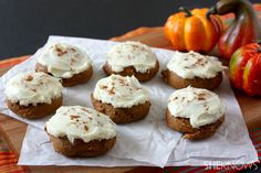 2 ingredient pumpkin cookies: 1 spice cake mix + 1 can pumpkin puree (15 ozs) baked at 350 for 15 mins. Top with cinnamon accented cream cheese frosting!