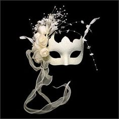 White-venetian-half-mask-with-flowers