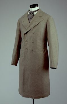 frock coat, for example, once considered appropriate anywhere before six in the evening gradually became formal daytime attire by the The grey frock coat would have been considered correct dress for a promenade in the park. 1880s Fashion, Edwardian Fashion, Vintage Fashion, Frock Coat, Coat Dress, Mode Masculine, Historical Costume, Historical Clothing, Victorian Men