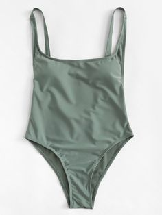 Women's Army Green Low Back One Piece Monokini Swimsuit with Adjustable Straps Backless One Piece Swimsuit, One Piece Swimwear, Bikini Swimwear, Summer Bathing Suits, Cute Bathing Suits, Swimsuit Cover Ups, Buy Swimsuit, Swimming Costume, Cute Swimsuits