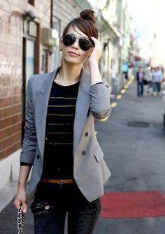 Wardrobe remix challenge>>Grey blazer
