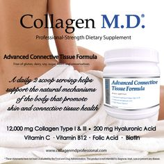 Advanced Connective Tissue Formula by Collagen M.D.® Extra-strength dietary supplement powder is a source of 12,000 mg hydrolyzed collagen type I & III and 200 mg hyaluronic acid and 4 collagen-enhancing vitamins per 2 scoop serving to support healthy skin from within.* Made in the USA under strict cGMP guidelines. Free of gluten, dairy, soy, sugar, fillers and preservatives