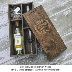 Engraved Wine box includes 2 glasses is the perfect house warming gift from family, friends or realtors. AutumnWoodWork on Etsy