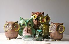 vintage owl collection. I have the green one in the back.