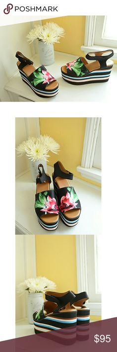 Clover Canyon Silent Flower Platform Sandals These open toe platforms feature a leather lining, a floral graphic neoprene upper, striped platform heel and sturdy Velcro ankle strap. Gorgeous! New in box. Enjoy! :) Shoes Sandals