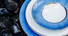 Legle Limoges Porcelain - Carbone in Navy Blue with a platinum band #tableware from Harlequin London