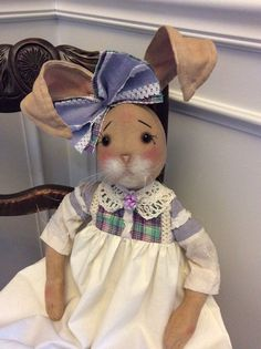 Primitive Folk Art Bunny Rabbit Doll Shabby Chic #NaivePrimitive