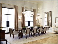 Thomas Pheasant for Baker Furniture featuring the Column Dining Table and Atelier Dining Chairs | Rivera Fine Homes - Custom Homes and Estate Communities throughout the GTA