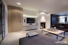 Vrolixinterieur.be Cafe House, Home Living Room, Future House, Flat Screen, Flooring, Inspiration, Home Decor, House, Fire Places