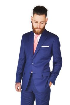 Blue Suit Style, Suit Fashion, Mens Fashion, Shirt And Tie Combinations, Suit Jacket, Breast, Suits, Jackets, Moda Masculina