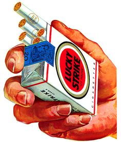 One of advertising's most iconic images is the Lucky Strike hand, shown here in 1959 proffering one of marketing's most famous logos — the bull's eye designed for American Tobacco by Raymond Loewy some 20 years earlier. Pin Up Vintage, Vintage Ads, Vintage Posters, Raymond Loewy, Retro Ads, Vintage Advertisements, Tmblr Girl, Vintage Cigarette Ads, Cigarette Brands