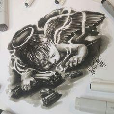Tattoo sketch - When Angels Sleep. Sketch sketch - Tattoo sketch – When Angels. - Tattoo sketch – When Angels Sleep. Sketch sketch – Tattoo sketch – When Angels Sleep. The sket - Angel Tattoo Designs, Tattoo Sleeve Designs, Sleeve Tattoos, Chicanas Tattoo, Body Art Tattoos, Skull Tattoos, Money Tattoo, Men Tattoos, Tattoo Design Drawings