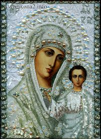 Blessed Virgin Mary - Embroidered icon by Maria Yantovskaya Jesus Mother, Blessed Mother, Mother Mary, Religious Icons, Religious Art, Spiritual Images, Christian Artwork, Divine Mother, Mary And Jesus