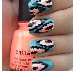 awesome bright indian design nails