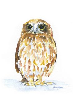 Burrowing Owl watercolor giclée reproduction. Portrait/vertical orientation. Printed on fine art paper using archival pigment inks. This quality printing allows over 100 years of vivid color in a typi