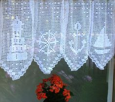 Discover recipes, home ideas, style inspiration and other ideas to try. Crochet Curtain Pattern, Crochet Curtains, Curtain Patterns, Crochet Patterns, Curtains With Blinds, Valance, Filet Crochet, Knit Crochet, Decorative Household Items